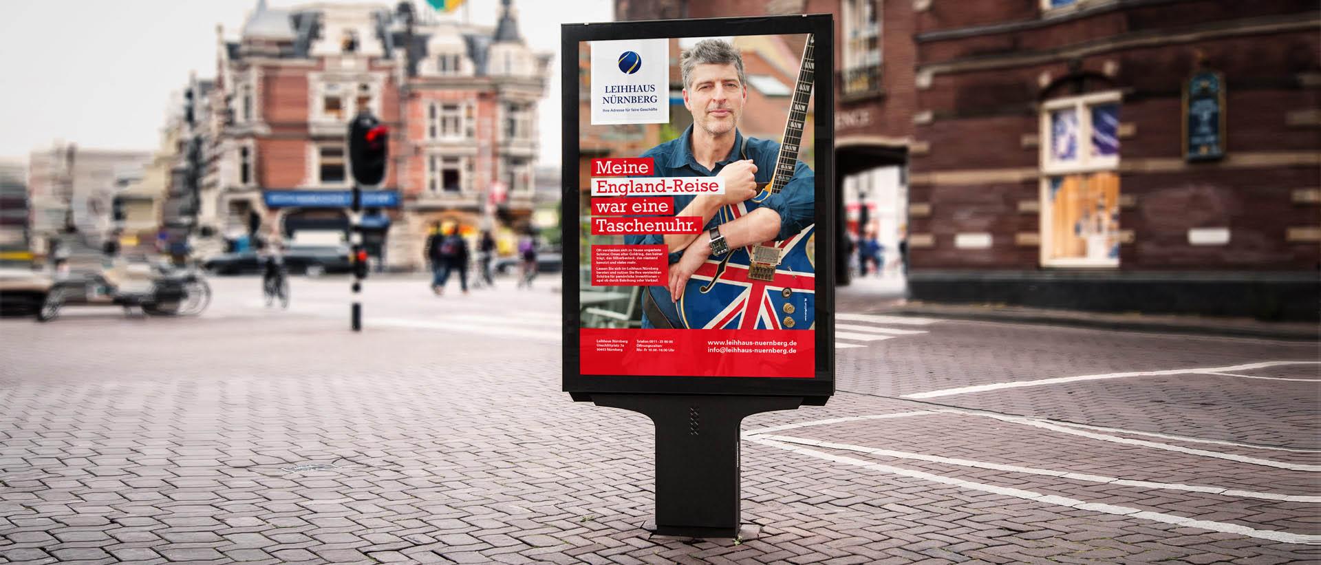 Außenwerbung vom Profi - Citylight Kampagne Leihhaus Nürnberg