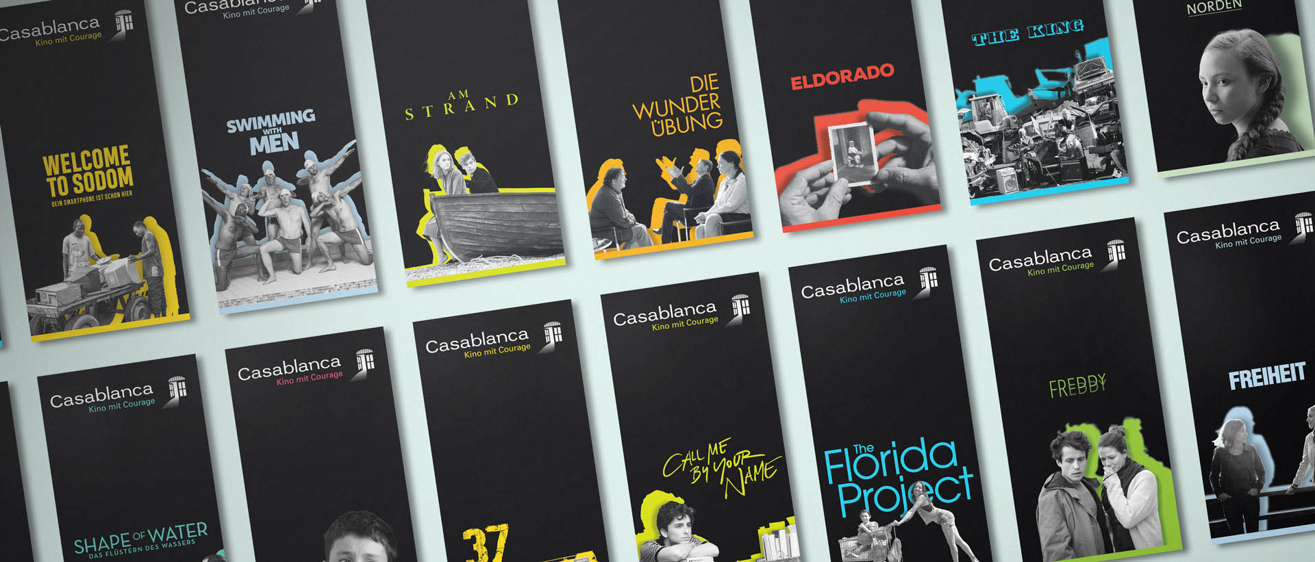 Für das Casablanca Kino aus Nürnberg hat REINGOLD den kompletten Marken-Relaunch konzipiert und realisiert – insbesondere den Programm-Flyer.