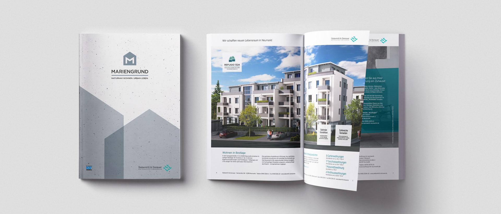 Für den renommierten Bauträger Siebentritt und Donauer konzipiert und realisiert REINGOLD für die komplette Werbung – inbesondere Objekt-Prospekte.